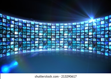 Digitally generated Curve of digital screens in blue