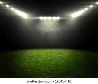 Digitally generated football pitch under bright spotlights
