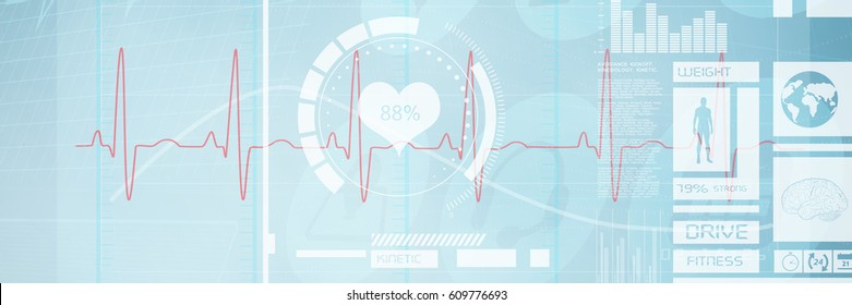 Digitally generated image of electrocardiography against medical icons 3d