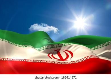 Digitally generated iran national flag under sunny sky