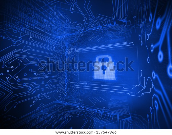Digitally generated lock surrounded by circuit board on blue background
