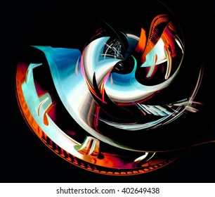 Digitally generated luminous object resembling pearl shell or eye with spiral structure. Metaphor of such matters as investment, consulting, innovation, value / treasure, mission or strategic vision.