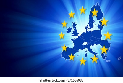 Digitally generated map of European Union with copy space.