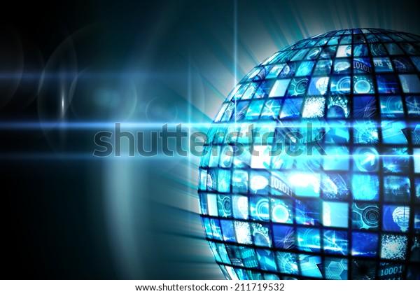 Digitally generated Sphere of digital screens in blue