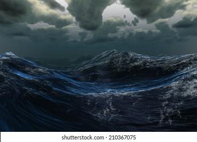Digitally generated stormy sea under dark sky