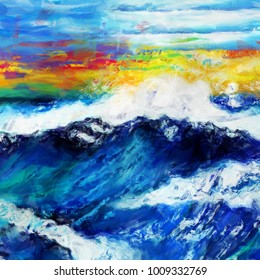 A digitally painted artistic abstract grunge wavy ocean seascape.