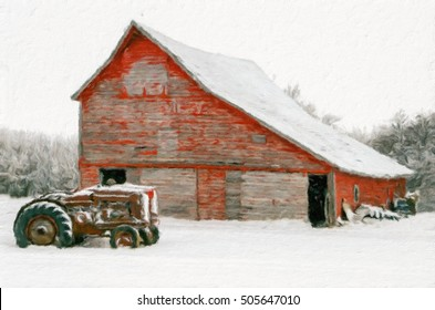 A digitally painted impressionistic oil painting of a snowy Christmas scene with a red barn and a vintage tractor