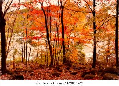 A digitally painted photograph of autumn along the Niagara River shoreline, deep in the Niagara Gorge near the Whirlpool Rapids.