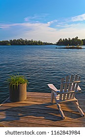 A digitally painted photograph of summer cottage life on Georgian Bay in Ontario, the largest fresh water archipelago in the world, with 30,000 islands.