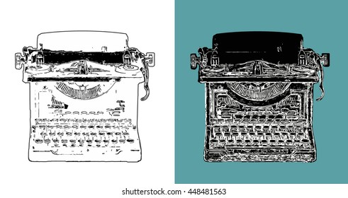 Digitally sketched vintage typewriter in black and white