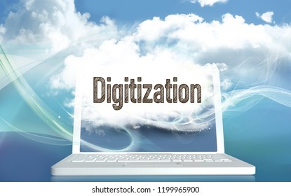 Digitization illlustrated with Clouds on Laptop on a Blue Background. 3D Illustration and Typography