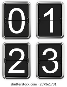 Digits 0 1 2 3. Set of Digits on Mechanical Scoreboard - Thin Font.