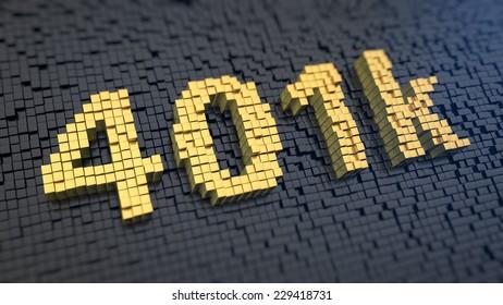 Digits '401k' of the yellow square pixels on a black matrix background. Pension program concept.