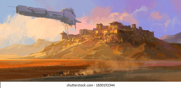 The dilapidated spaceship floating above the Gobi, digital painting.