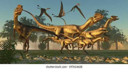 Dilophosaurus Hunt - A pack of Dilophosaurus are beginning their hunt for prey as flying Dorygnathus pterosaurs follow along.