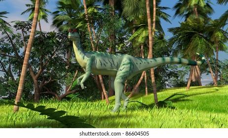 dilophosaurus in jungle
