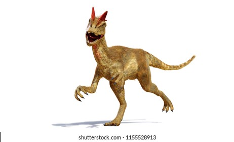 Dilophosaurus, theropod dinosaur from the Early Jurassic period (3d rendering isolated with shadow on white background)