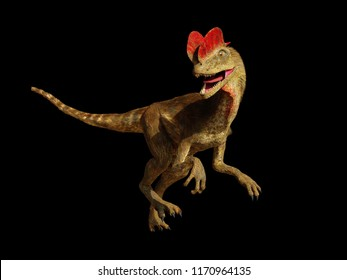 Dilophosaurus, theropod dinosaur from the Early Jurassic period (3d illustration isolated on black background)