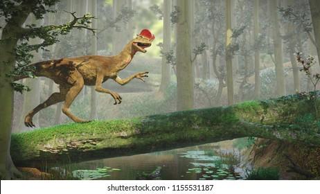Dilophosaurus, theropod dinosaur inside a forest (3d illustration)
