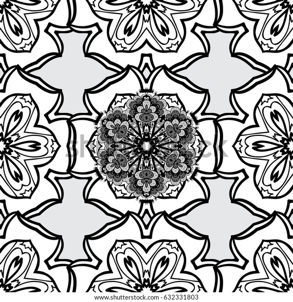Dim color seamless illustration. Dim seamless pattern on gray background with dim floral elements. For your design, wallpaper. Geometric background.