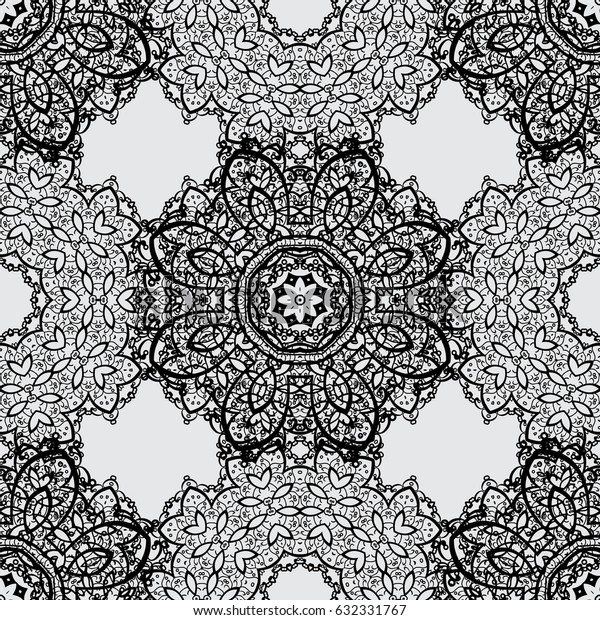 Dim element on gray background. Damask seamless repeating pattern. Antique dimen repeatable wallpaper. Dim floral ornament in baroque style.