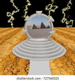 Dimensional portal over pyramids, 3d rendering