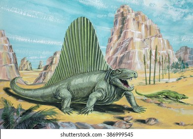 Dimetrodon A flesh-eating, early mammal-like reptile (not actually a dinosaur). About 11 ft (3-5 m) long. Background animal: Varanosaurus. Permian, about 250 million years ago.