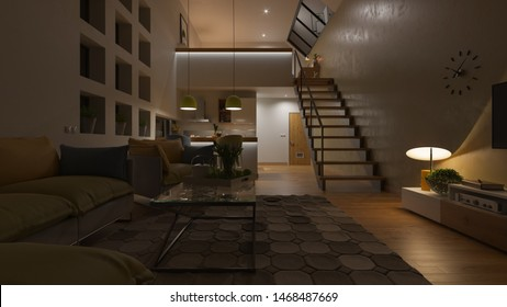 Dimly Illuminated Open Plan House with a Mezzanine at Night 3D Rendering