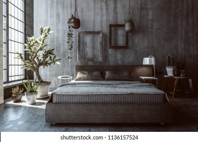 Dimly lit rustic bedroom with multiple potted plants next to window and basket on top of nightstand. Empty picture frames above headboard. 3d Rendering