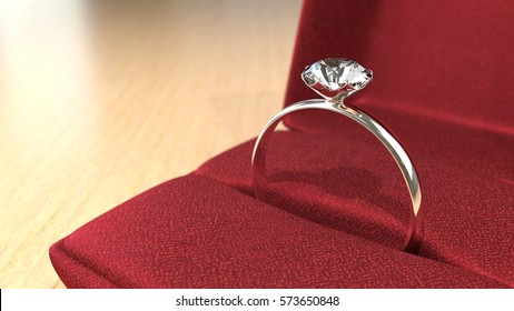 Dimond Ring in Red Box 3D Render