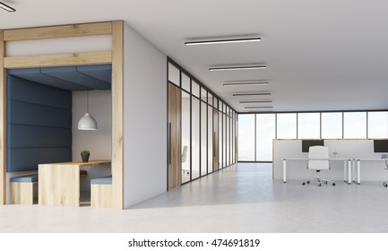 Dining area, conference room and cubicles on one floor. Concept of proper design of office space. 3d rendering