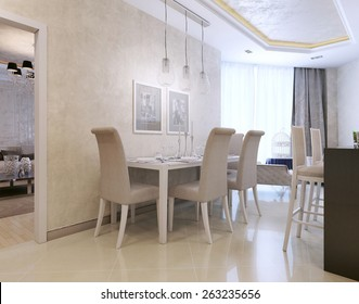 Dining neoclassical style. 3D render