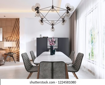 Dining room in Contemporary style with modern chairs and a table by the large window. 3D rendering.