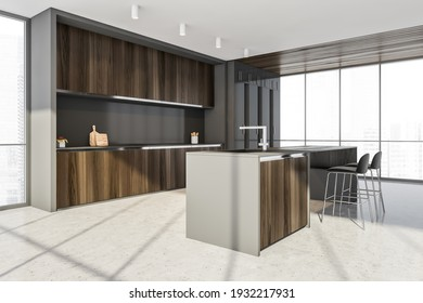 Dining room, cutting table with two black bar chairs, side view, city view on skyscrapers. Kitchen set with shelf and marble floor, 3D rendering no people
