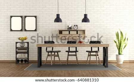 Dining Room Industrial Style Table Chairs Stockillustration