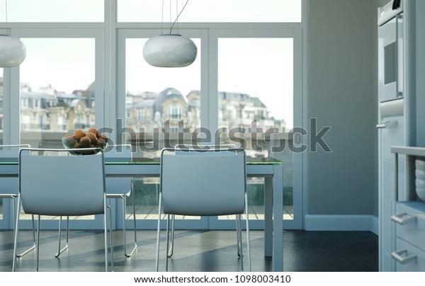 Dining Room Interior Design Beach House Stock Illustration 1098003410