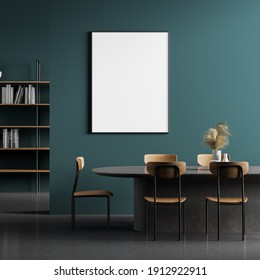 Dining room interior, table with chairs and a framed vertical poster above it. 3d rendering mock up
