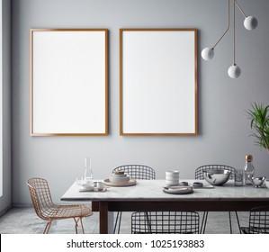Dining room interior wall mock up on gray background, 3D rendering, 3D illustration
