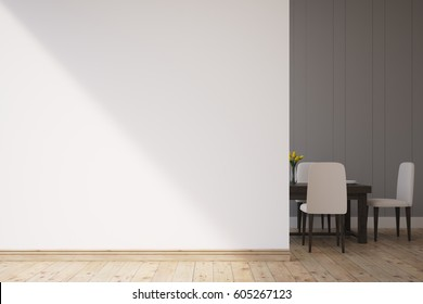 Dining room interior with a white wall. There is a table and chairs in the corner. 3d rendering. Mock up