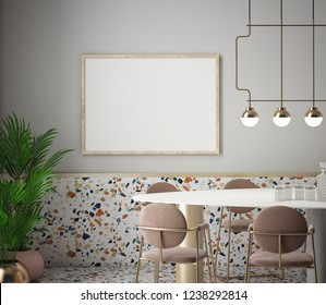 Dining room and kitchen interior with terrazzo background, 3D rendering, 3D illustration