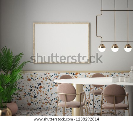 Dining Room And Kitchen Interior With Terrazzo Background 3D Rendering Illustration