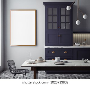 Dining room and kitchen interior wall mock up on white background, 3D illustration