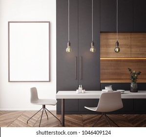 Dining room and kitchen interior wall mock up on white background, 3D rendering, 3D illustration