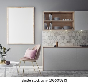 Dining room and kitchen interior wall mock up on background, 3D rendering, 3D illustration