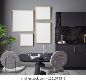 Dining room and kitchen interior wall mock up on black background, 3D rendering, 3D illustration