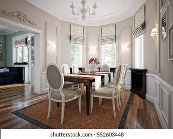 Dining room in luxury home with white wall panels and beige molding walls. 3d render.