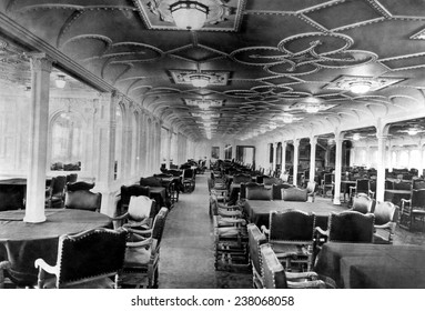 The dining room of the RMS Titanic which sank after hitting an iceberg on its maiden voyage 1912