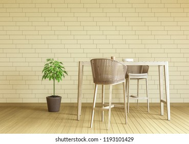 Dining table with 2 wooden chair in the kitchen room