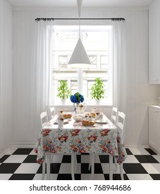 Dining table with breakfast - 3 d render