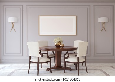 Dining-room in neoclassic style. Frame mockup. 3d render.